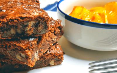 Brownie aux noix de pecan et salade ananas caramelisé